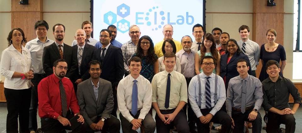 The participants in the 2015 E(I) Lab in the Eshelman Institute for Innovation at the UNC Eshelman School of Pharmacy.